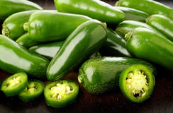 Green jalapeno peppers Royalty Free Stock Photography
