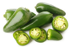 Green jalapeno peppers. On white background Stock Photo