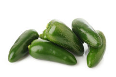 Green jalapeno peppers on white Royalty Free Stock Photo