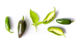 Green jalapenos peppers on white background. Isolated Royalty Free Stock Photos