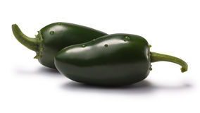 Green Jalapenos (TAM mild), paths. Green TAM Mild Jalapenos. Clipping paths, shadows separated, infinite depth of field. Design elements Royalty Free Stock Photo