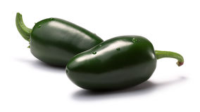 Green Jalapenos (TAM mild), paths. Green TAM Mild Jalapenos. Clipping paths, shadows separated, infinite depth of field. Design elements stock photography