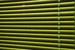 Green jalousie with stripes of light Stock Photo