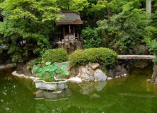 Green japanese garden. A Japanese garden in the summer colors Stock Photo