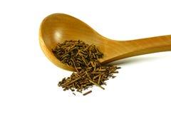 Green japanese Kukicha twig or stalk or stick tea popular at macrobiotic diet. Stock Image