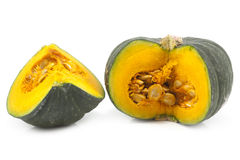 Green Japanese pumpkin isolated on the white background Royalty Free Stock Image
