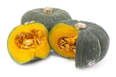 Green Japanese pumpkin isolated on the white background Stock Images