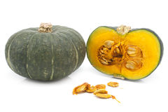 Green Japanese pumpkin isolated on the white background Stock Photography