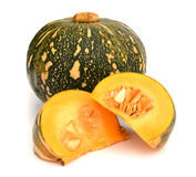 Green Japanese pumpkin isolated on the white background Stock Photos