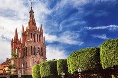 Green Jardin Parroquia Archangel Church San Miguel Mexico. Parroquia Archangel church Jardin Town Square San Miguel de Allende Mexico. Parroaguia created in stock photo
