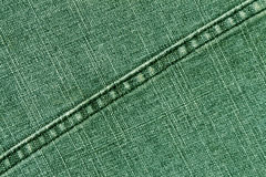 Green jeans cloth texture with stitch. Stock Photography