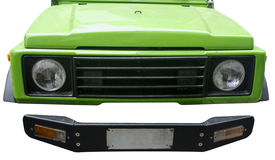 Green jeep headlights and front bumper Stock Images
