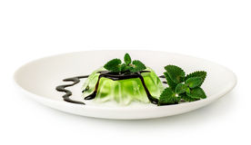 Green jelly dessert with chocolate and mint Stock Photography