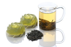 Green jelly dessert, green tea  on white background isolate Stock Images