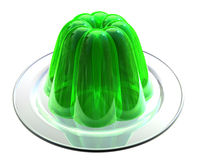 Green Jelly on Dessert Plate. Moulded Jelly dessert set out on white china serving plate royalty free illustration