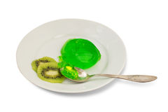 Green jelly with kiwi slices Stock Photos