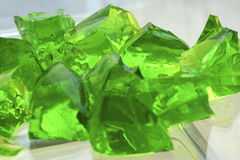 Green Jelly pieces. Selective focus Royalty Free Stock Images