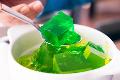 Green Jelly on a Spoon Royalty Free Stock Image