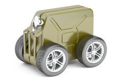 Green jerry can with wheels, technical assistance concept.. Green jerry can with gasoline on white background Royalty Free Stock Image