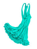 Green jersey dress falls in the air Royalty Free Stock Images