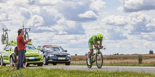 Green Jersey- Peter Sagan. Beaurouvre,France, July 21 2012:Image of the Slovak cyclist Sagan Peter (Liquigas-Cannondale team) wearing The Green Jersey ( the best Royalty Free Stock Images