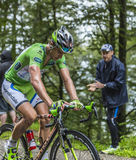 Green Jersey - Peter Sagan. Col de Platzerwasel, France - July 14, 2014: The Slovak Cyclist Peter Sagan (Cannondale Team),wearing The Green Jersey,climbing the Stock Images