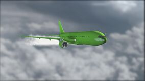 A green jetliner flying above the clouds. Blurred background. Airplane. Realistic 3D visualization. The grey clouds. A