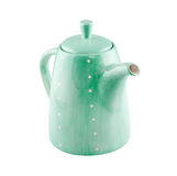 Green jug or teapot isolated on white Royalty Free Stock Photo