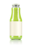 Green juice glass bottle with a blank label. Isolated on white background. File contains a path to isolation. Stock Photo