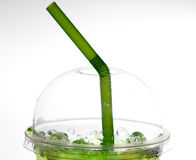Green Juice Plastic glass Royalty Free Stock Photos