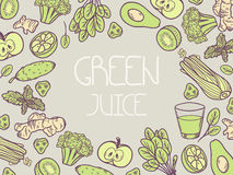 Green juice vector illustration. Background with vegetable frame Stock Images