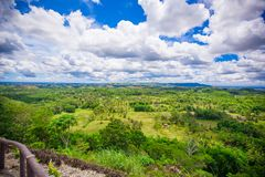 Green juicy and colorful Chocolate Hills in Bohol Royalty Free Stock Photo