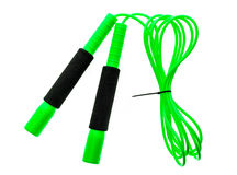 Green jump rope or skipping rope isolated on white background. Royalty Free Stock Images