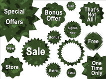 Green Jungle Army Camouflage Offer Badges Stock Photo