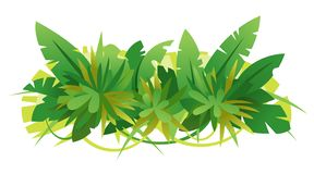 Green Jungle Leaves Composition. Composition of green jungle leaves assembled together in horizontal view, isolated on white, decoration of tropical plants royalty free illustration
