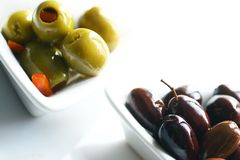 Green and kalamata olives Stock Images