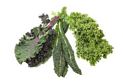 Green kale leaves isolated on white Royalty Free Stock Images