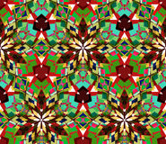 Green kaleidoscope background. Seamless pattern composed of color abstract elements located on white background. Royalty Free Stock Images
