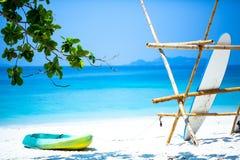 A Green Kayak On The Beach Stock Photo