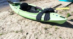 Green kayak Royalty Free Stock Images