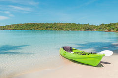 Green kayaks on the tropical beach in Phuket, Thailand. Summer, Royalty Free Stock Photography