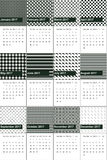 Green kelp and hunter green colored geometric patterns calendar 2016 Royalty Free Stock Photography