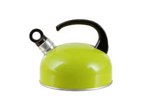 Green kettle isolated. On a white background stock photos