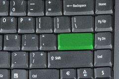 Green key on keyboard Royalty Free Stock Photo