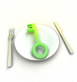 Green key to better and tasty cuisine render Stock Image