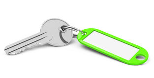 The green keychain. 3d generated picture of a key with a keychain royalty free illustration