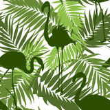 Green khaki seamless pattern palm leaves flamingos Stock Images