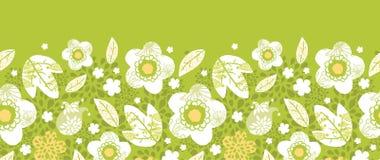 Green kimono florals horizontal seamless pattern Stock Image