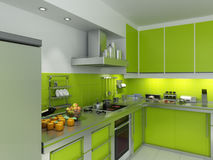 Green kitchen. 3D rendering of a modern spacious kitchen in green and chrome