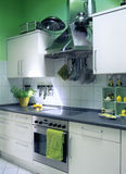 Green kitchen. Small green kitchen in block of flat royalty free stock photos